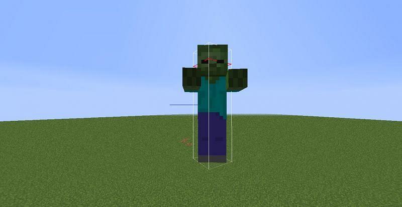 The hitbox on a zombie image via Minecraft forum