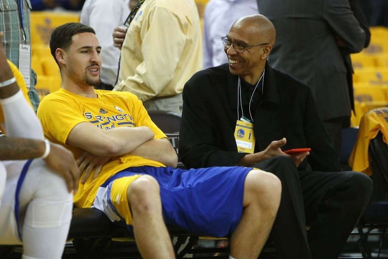 Klay Thompson and his father Mychal Thompson [Image: Scott Strazzante/The Chronicle]