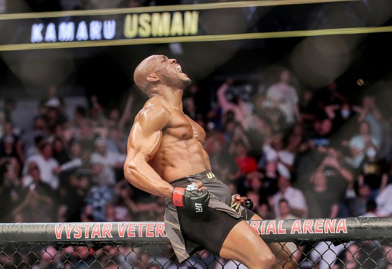 Kamaru Usman roars after his UFC 261 win
