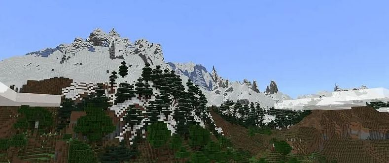 Shown: A massive mountain with Powder Snow (Image via Minecraft)