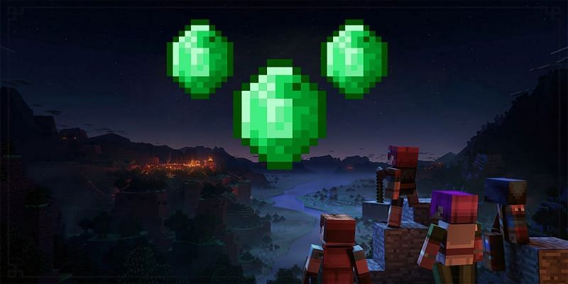 Villagers looking up at emeralds (Image via gamerant)