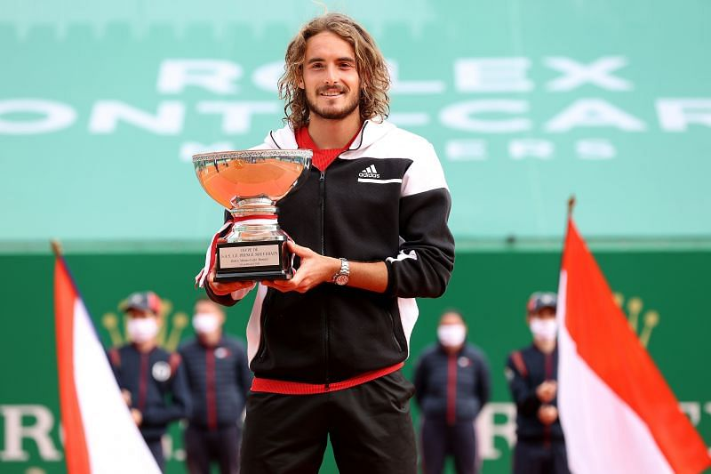 Stefanos Tsitsipas with the 2021 Monte Carlo Masters trophy