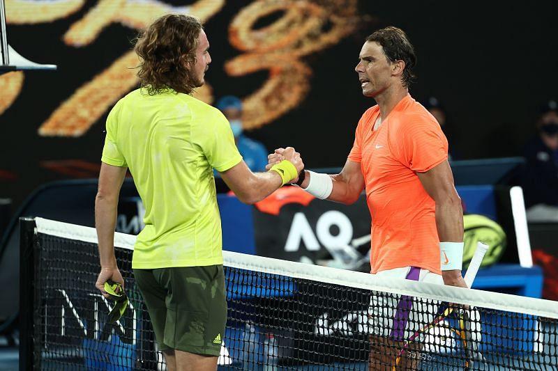 Stefanos Tsitsipas after defeating Rafael Nadal at the 2021 Australian Open