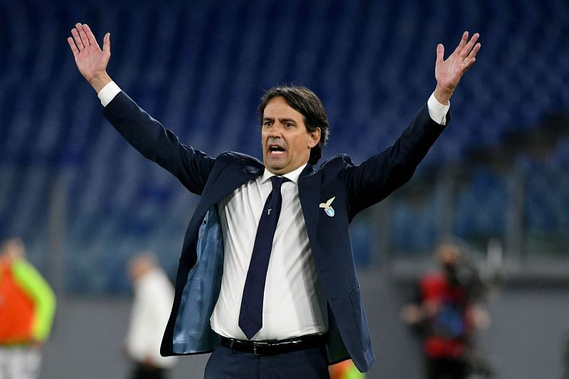 Simone Inzaghi reacts during a Lazio game