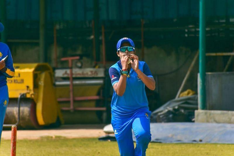 Prathyusha in action during a Karnataka training session