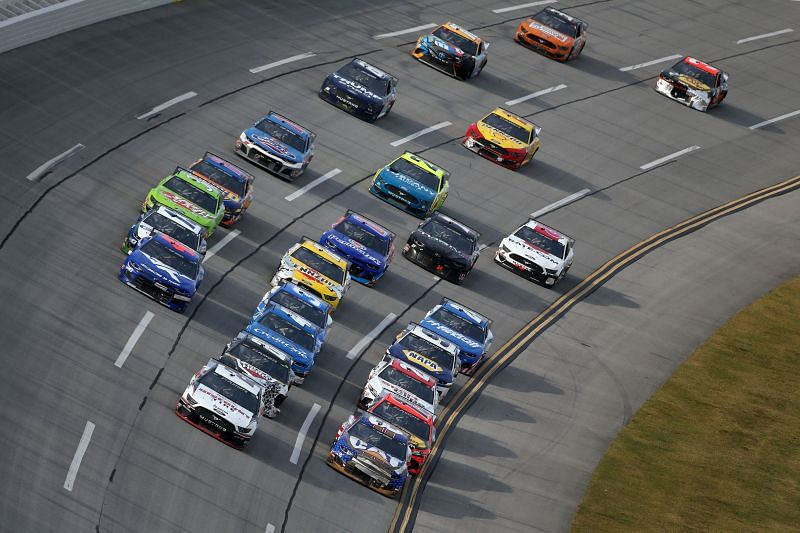 NASCAR allowed fans to drive around Talladega Super Speedway for a good cause. Photo: Brian Lawdermilk/Getty Images.