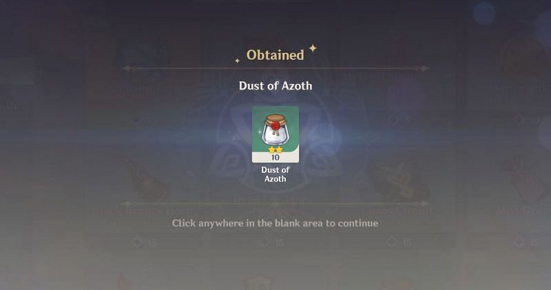 Buying Dust of Azoth in Genshin Impact