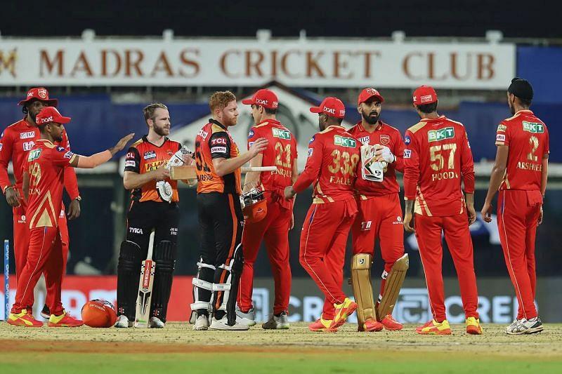 Sunrisers Hyderabad and Punjab Kings players greet each