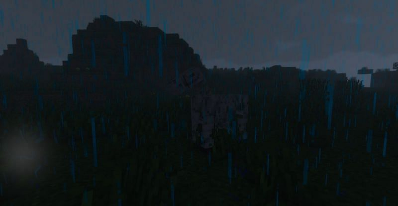 A Skeleton Horse spawned in a thunderstorm (Image via Minecraft)