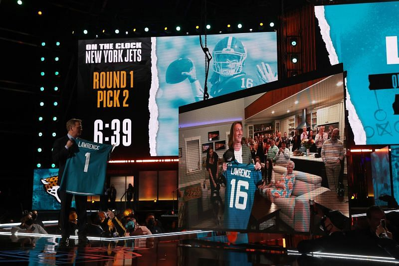 NFL Commissioner Roger Goodell announces the Jacksonville Jaguars selection of Trevor Lawrence with the first pick of the 2021 NFL Draft at the Great Lakes Science Center on April 29, 2021, in Cleveland, Ohio.