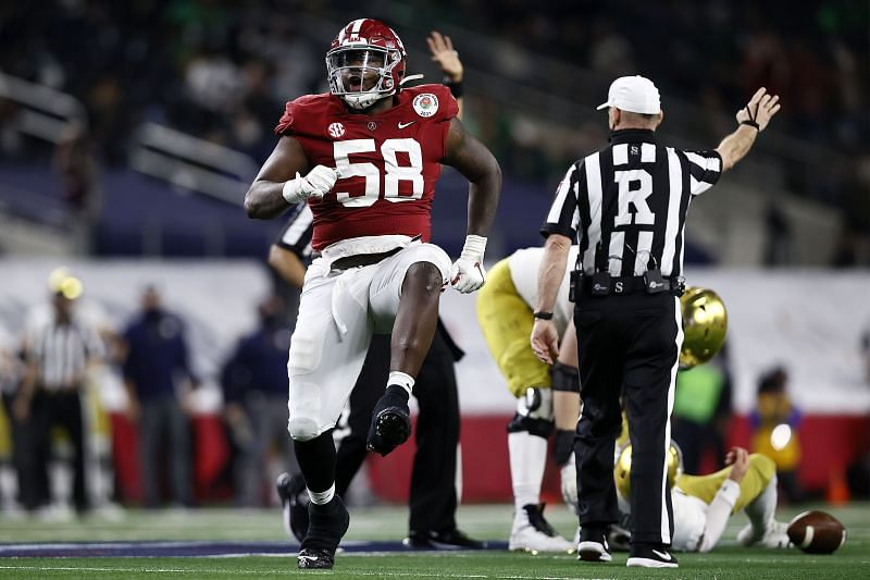 Alabama defensive tackle Christian Barmore celebrates a sack against Notre Dame on Jan. 1, 2020.