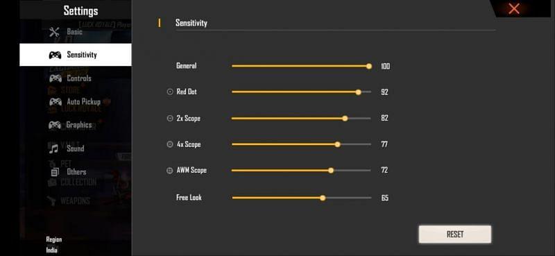 Best headshot sensitivity settings in Free Fire