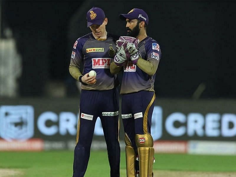 Current and former KKR skippers, Eoin Morgan and Dinesh Karthik
