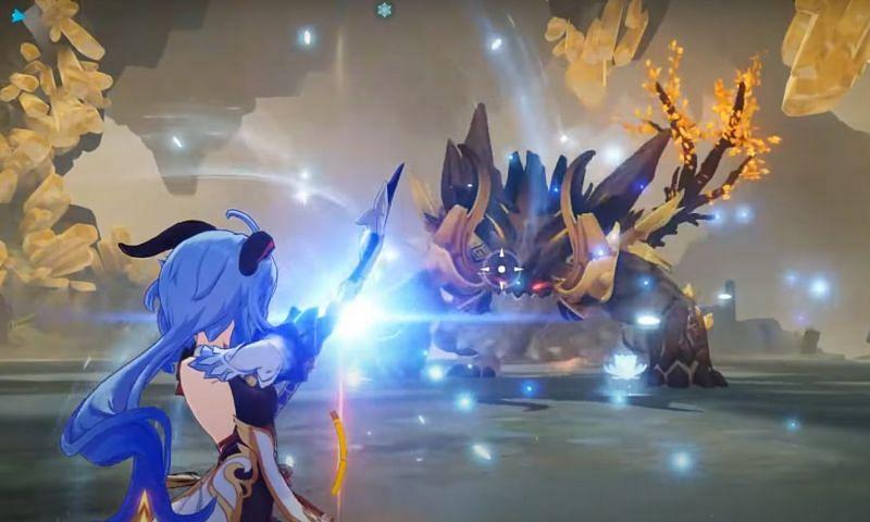 Ganyu firing an aimed shot at the Genshin Impact boss, Azhdaha (image via MELOO)