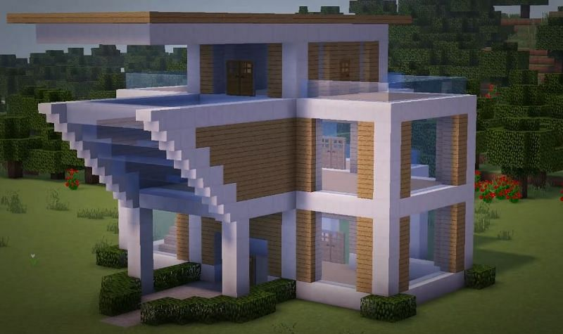 Decorative leaves and paths can be placed outside the Minecraft mansion building (Image by YT, Greg Builds)