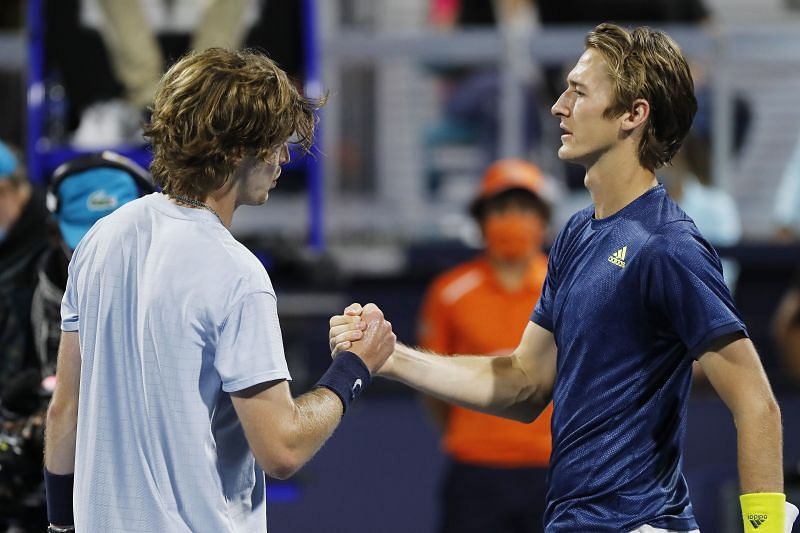 Andrey Rublev and Sebastian Korda shake hands after their quarterfinal encounter in Miami