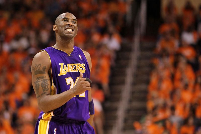 Kobe Bryant #24 reacts to a play.