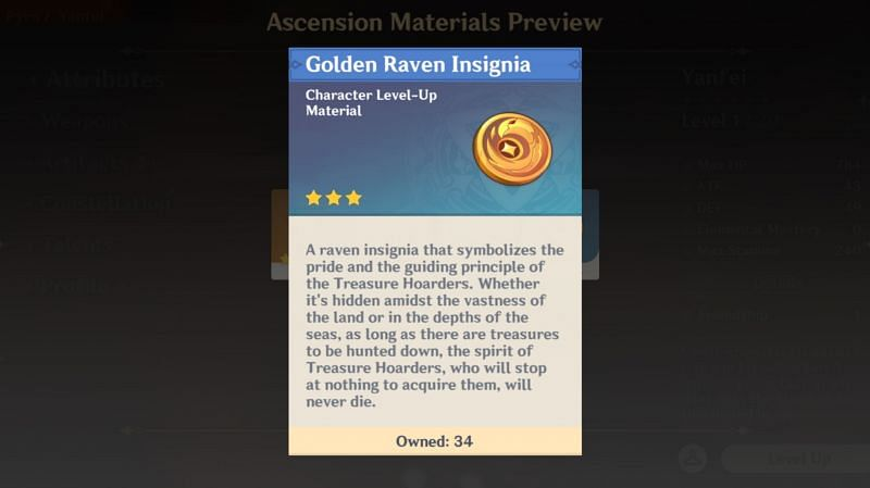 Treasure Hoarder Insignias are used for Yanfei