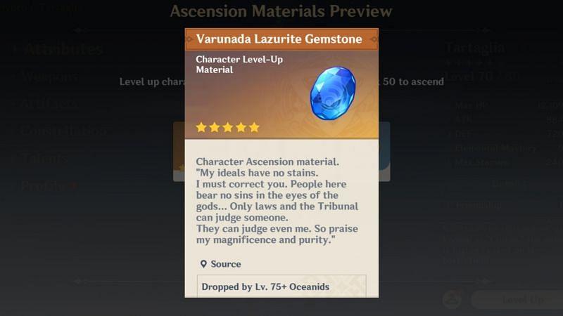Varunada Lazurite Gemstone in Genshin Impact