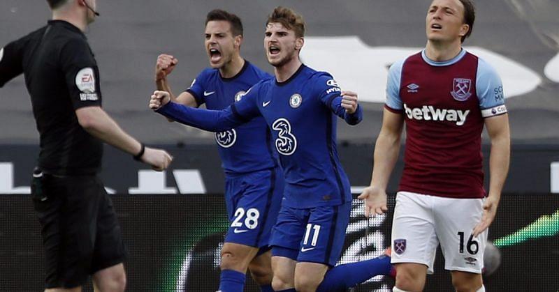 Timo Werner celebrates after scoring a goal