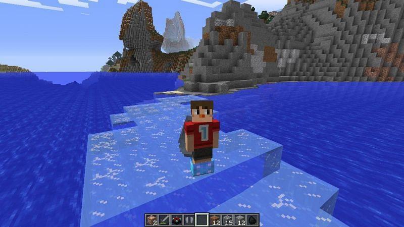 Minecraft Frost Walker enchantment (Image via Reddit)