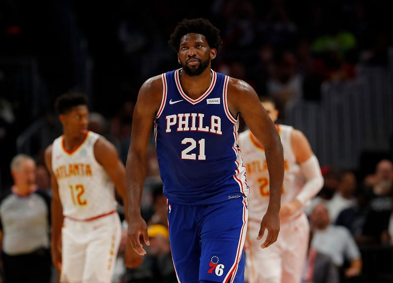 Joel Embiid #21 of the Philadelphia 76ers reacts after hitting a three-point basket against the Atlanta Hawks