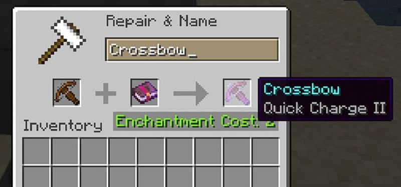To add Quick Charge to a crossbow in Minecraft, a player should either use an enchantment table or an enchanted book (Image via Minecraft)