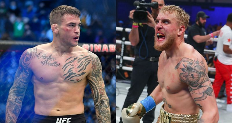 Dustin Poirier (Left) does not expect anything less than a third-round KO win over Jake Paul (Right)