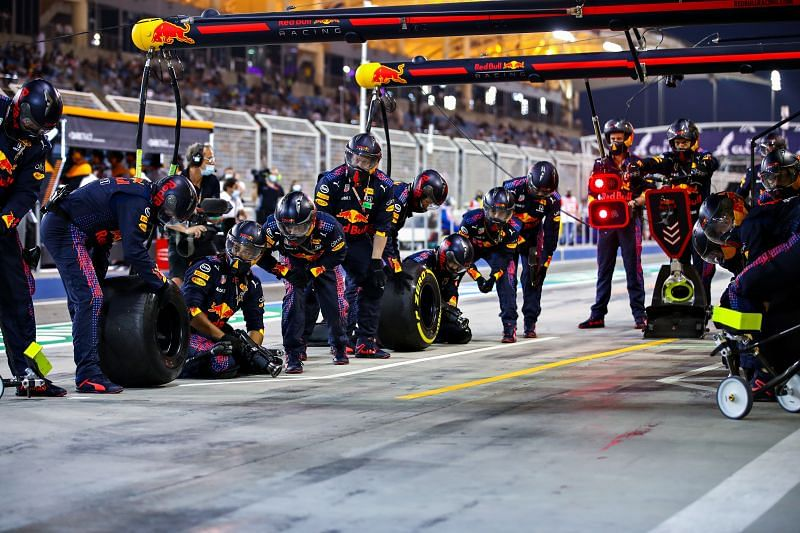 The Red Bull pit crew are the masters of pit stops. Photo: Mark Thompson/Getty Images.