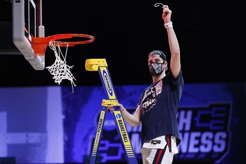 Gonzaga Bulldogs forward Corey Kispert cuts net after Final Four berth