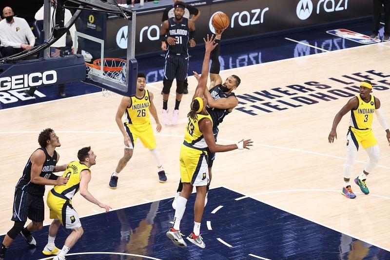 Khem Birch attempts a two-point shot
