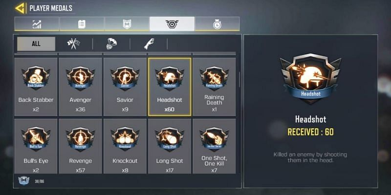 Headshot medals in COD Mobile (Image via Activision)