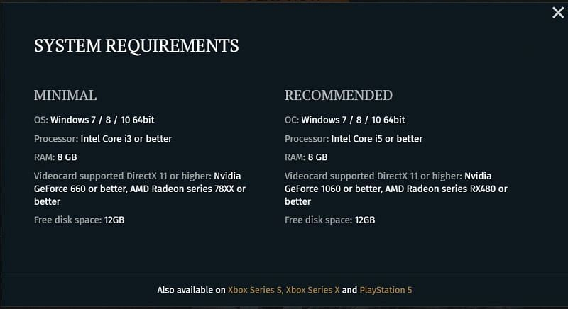 The full system requirements of the game. Image via Enlisted.net