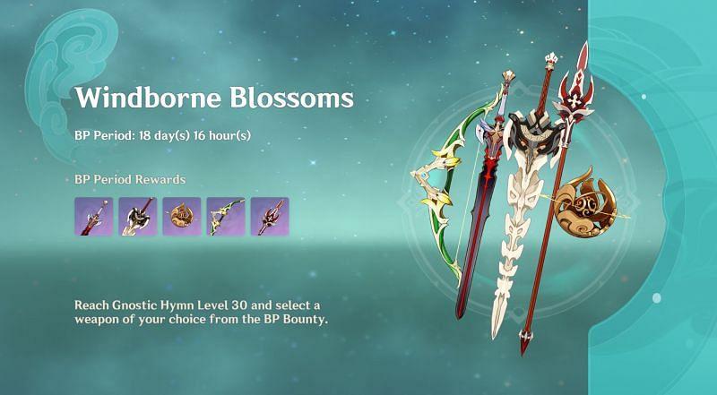 Unique weapon rewards in Genshin Impact's Battle Pass