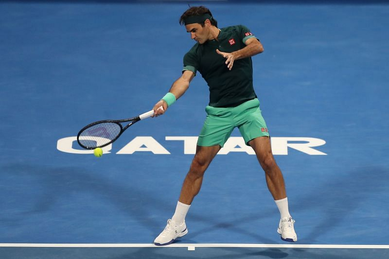 Roger Federer at the Qatar ExxonMobil Open in Doha, Qatar in March 2021