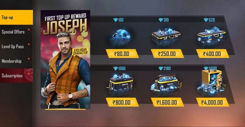 Select the top-up and purchase the diamonds
