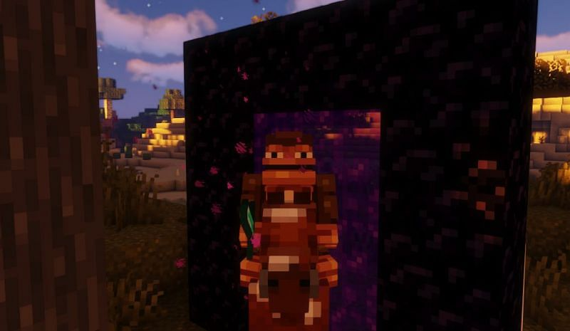 Shown: A Monke foolishly attempting to enter a Portal while on a horse (Image via Minecraft)