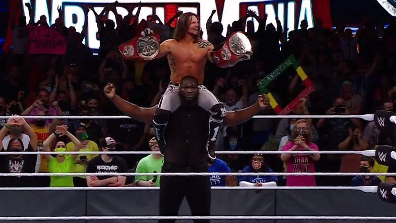 AJ Styles and Omos at WrestleMania 37.