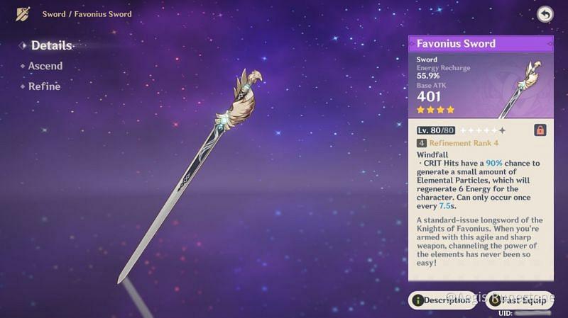 Favonius Sword in Genshin Impact