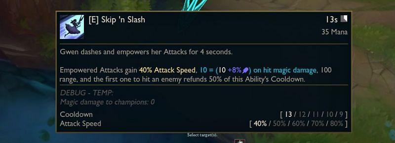 Empowered Attacks will gain 40/50/60/70/80% Attack Speed, [10 +8% AP] on hit magic damage and 100 range (Image via Surrender@20)