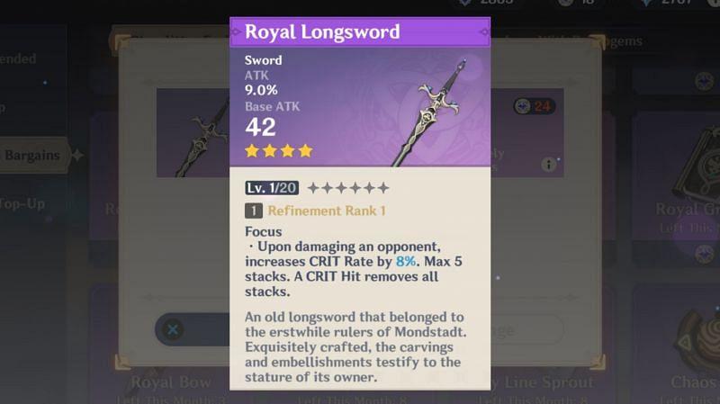 Royal Longsword stat and passive