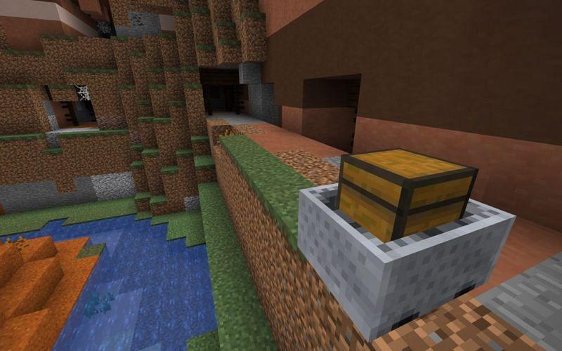 Minecraft minecart with a chest (Image via minecraftseedhq.com)