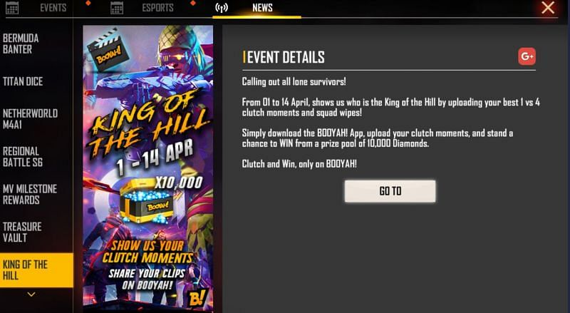 King of the Hill event in Garena Free Fire