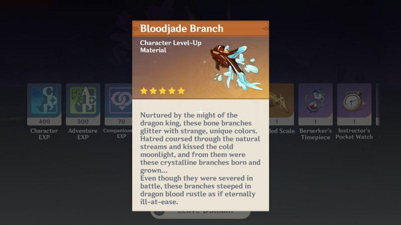 Bloodjade Branch is a drop from Azhdaha in Genshin Impact