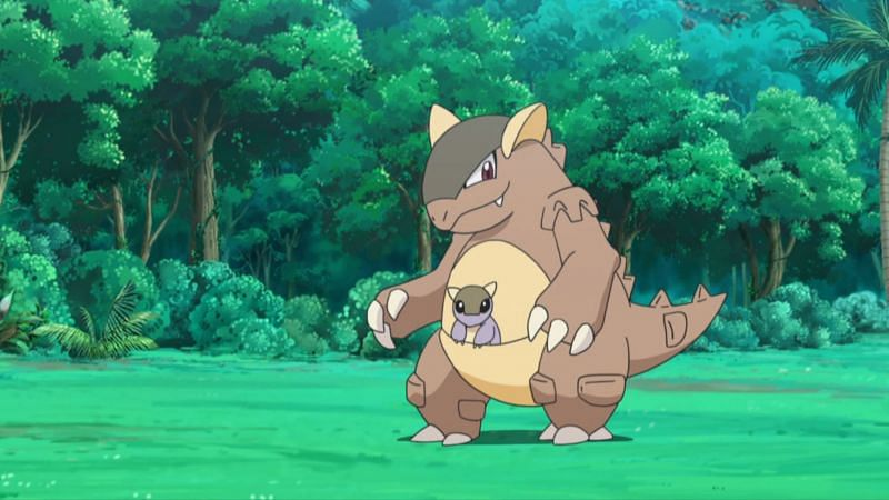 Kangaskhan, one of three potential second choices to be used by Giovanni (Image via The Pokemon Company)