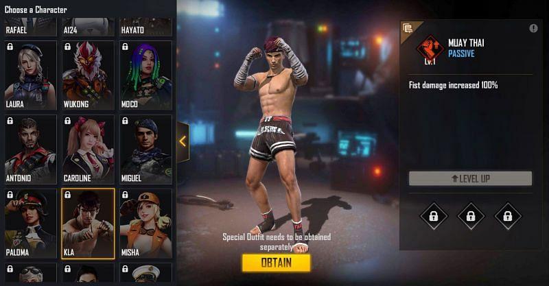 Kla character in Free Fire