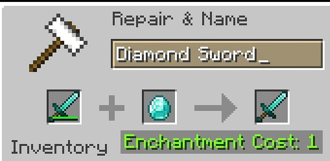 Shown: A player repairing his barely damaged Diamond Sword for one level (Image via Minecraft)