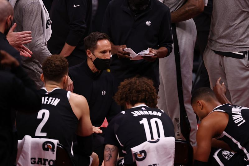 The Brooklyn Nets during a timeout