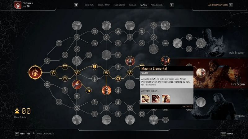 Outriders Pyromancer Skill Tree Magma Elemental node (Image via TheTeaWrex)