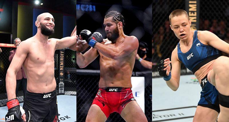 UFC rankings update has big news for Khamzat Chimaev (Left), Jorge Masvidal (Center), and Rose Namajunas (Right)